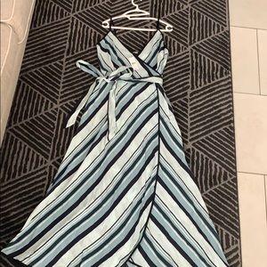 Loft Striped Strappy Wrap Dress (NWT)